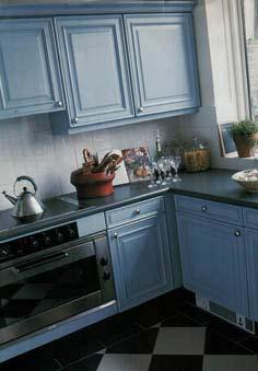 Keukens - Keuken wit en blauw ...